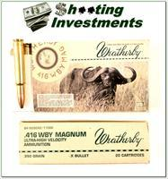 Weatherby 416 Wthy Magnum factory ammo 350 Barnes X-bullet