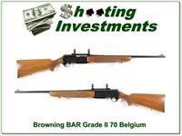 This is a 1970 Belgium made Browning BAR Grade II. It is a 30-06 and this full Belgium BAR will make a classic hunting gun. It is used with some marks here and there. The rear sight blade was removed to mount a scope. It has nice honey colo