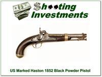 US Marked Haston 1852 Black Powder Pistol