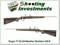 "Ruger 77/22 Stainless all weather ""Skeleton"" rare 22LR excellent"