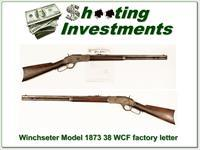 Winchester Model 1873 in 38 WCF with factory letter