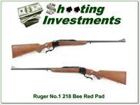 Ruger No.1 older Red Pad 218 Bee unfired MINT!
