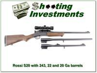Rossi S20 Single Shot 3 barrel set 20 Ga 22 LR 243 Win w scope