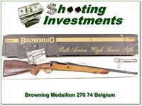 Browning Medallion Grade 270 Win 74 Belgium unfired in box!