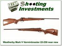 Weatherby Mark V Deluxe Varmintmaster 22-250 near new!