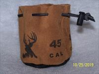 45 cal muzzleloader Leather ammo bag with 55 RB