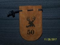50 cal POUCH Leather ammo bag with 40 RB bullets