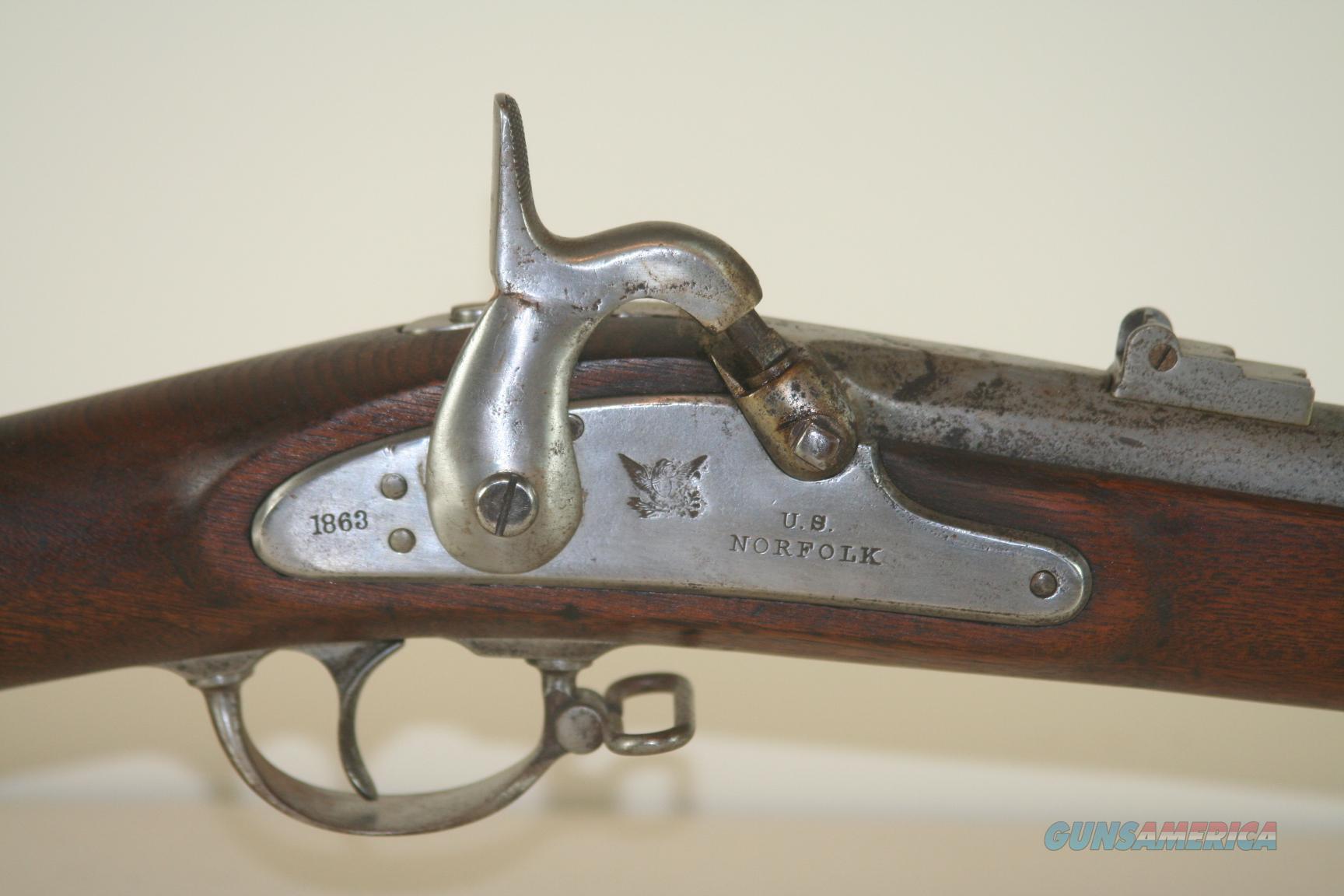 Norfolk U S  Civil War Rifle Musket, 58 cal, lock & barrel dated 1863