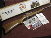 RUGER MINI-30 STAINLESS / WOOD - 7.62X39 - NEAR MINT IN BOX WITH TWO MAGS.