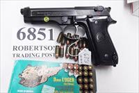 Beretta 9mm model 92S Italian MPs JS92F300M type / ancestor c1978 VG 16 round 1 Magazine Brunitron Frame, Blue Barrel and Slide VRBB