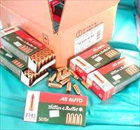 Ammo: .45 ACP S&B Czech 230 grain FMJ 250 Round Lot of 5 Boxes $18.80 per Box 45 Automatic caliber Sellier & Bellot Czechoslovakia Full Metal Jacket Brass Case Ammunition Cartridges