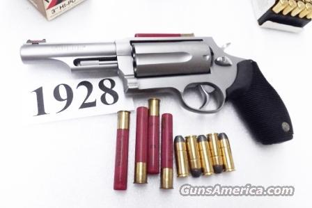 Taurus  45  410 Judge model 4410 3 inch Chamber 4 inch Barrel Stainless 45  Long Colt and 410 gauge Shotgun Shell Shotshell Interchangeably Near Mint