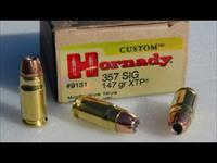 Ammo: ..357 Sig Hornady XTP 147 gr Jacketed Hollowpoint 1225 fps 9131 Ammunition cartridges 357 Sig-Sauer caliber