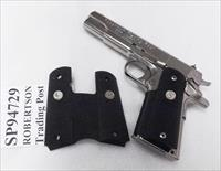 Colt 1911 Government Wrap Around Grips SP94729 Black Rubber with Nickel Medallions 45 Automatic 38 Super Standard Grip Frame no Compacts