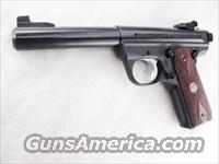 Ruger .22 LR 22/45 Blue & Polymer 5 1/2 inch Bull Barrel Adjustable Sights 10140 Scope Mount 1911 Grip Frame Cocobolo Diamond Checkered Grips NIB 2 Magazines 10 Shot MA OK P512MkIIIRP 10140