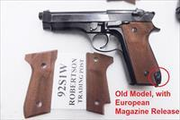 Beretta 92S Grips Herretts Walnut Checkered Palmswell 92S Only with European Magazine Release NO GO on 92F No 92FS Fit old model Berettas Only Buy 3 Ships Free!