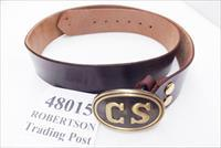 Triple K Leather Confederate Replica Belt Brown Walnut Oil Finish with Army of Northern Virginia CS Egg type Brass Tone Belt Buckle Size Large New Style 48 in by 2 inch