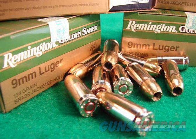 Ammo: 9mm 124 grain JHP Remington Golden Saber Bronze Jacketed Hollow Point  Flying Ashtray Black Talon type Ammunition Cartridges 9 Luger Parabellum