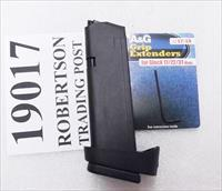 Glock 19 9mm 17 round factory magazine with A&G Grip Adapter MF19017 type on Speed