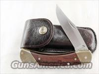 Schrade U.S. LB-7 Folding Hunter + Uncle Henry Stainless Steel Brass Bolsters Walnut Leather Excellent ca. 1980s Made in USA not China Buck 110 type LB7 Lo ck bl ade