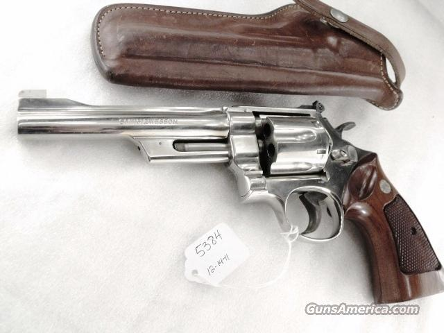 S&W 27-2 Nickel 6 inch 357 Magnum Excellent 1980 with Original Bianchi 10L  Holster No Speedloader Cut N791000 Serial Number