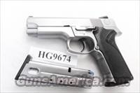 Smith & Wesson .40 model 4046 Stainless Steel Frame DAO 3 Dot 12 Shot 2 Magazines VG mfg 1997 Milwaukee County Sheriff Dept