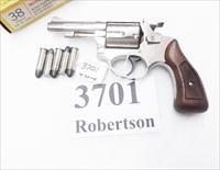 Rossi .38 Special model 68 Nickel 5 Shot Walnut Grips 38 Smith & Wesson Special Caliber 36 Chief's Special Copy Interarms D Prefix Flat Latch ca. 1979  Non +P Windage Adjustable Rear Sight