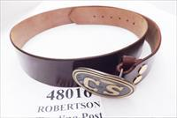 Triple K Leather Confederate Replica Belt Brown Walnut Oil Finish with Army of Northern Virginia CS Egg type Brass Tone Belt Buckle Size Large New Style 52 inch by 2 inch