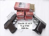 Ammo: .32 ACP Fiocchi 73 grain FMC  7.65 Browning 32 Automatic Ammunition Cartridges Full Metal Case 32AP 1000 fps