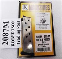 Smith & Wesson 3913 3900 Compact Magazines Triple K 8 Round Nickel Models 3913 3914 3953 908 Flat Plate Triple K Nickel Smith & Wesson 3900 Series 19071 flat plate type NIB Buy 3 ships Free!
