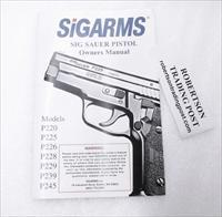 Sig Arms Sig-Sauer 2001 Operators Instruction Manual P220 225 226 228 229 239 245 Excellent 40 Pages