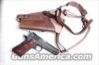 GI style Shoulder Holster 45 Autos 1911 Pistols New India Brown Leather WWI WWII type GL0109 Colt Government Model 45 Automatic Long Chest Strap variant