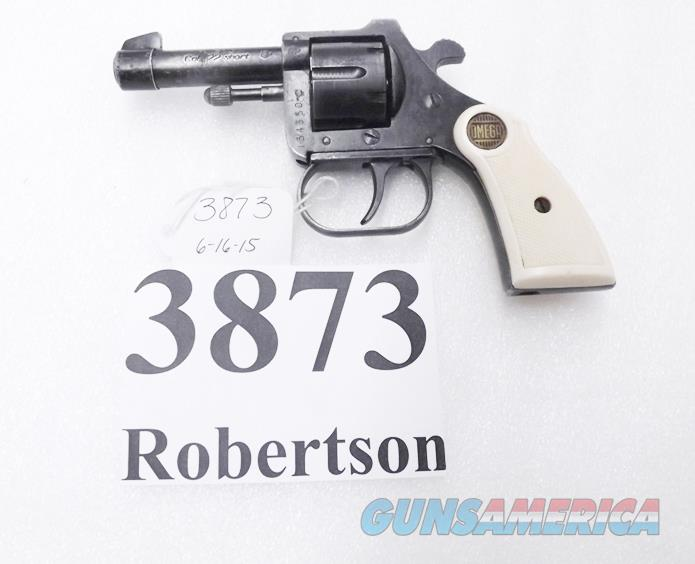 Omega  22 Short model 100 Revolver RG10 Sibling 2 1/2 inch Snub 6 Shot  German made ca  1967 Manual Ejection Screw Pin Side Loader G-VG