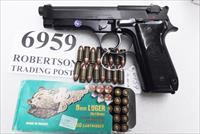 Beretta 9mm model 92S Italy Military Police Italian Carabinieri VG JS92F300M type / ancestor c1978 Chrome lined Factory Rebarrel w1 15 round Magazine Factory Gloss Anodized Frame Brunitron Slide Oxide Barrel VGRCO VGROC