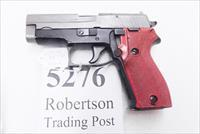 Sig Sauer 9mm model P6 / P225 West German Police Trainer Pistol 1979 Demilled Barrel, Beveled Breech Block 9 Shot 1 Magazine 2 Tone White Mill Marked Slide