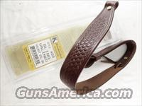 Rifle Sling US Leather Brown Basket Weave Triple K Walnut Oil Finish GL4030