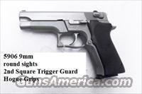 S&W 9mm 5906 Steel Stainless Excellent Matte Stainless Bead Finish 16 Shot with 1 Factory Magazine 108176