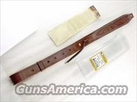 Rifle Sling US Leather Hand Carved Suede Lined Tan Stitched Triple K GL6004