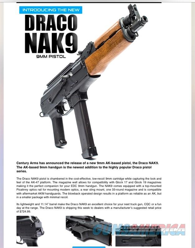 CENTURY ARMS NAK9 9MM HG3736-N AK47 DRACO NAK 9 MM NEW FOR 2018