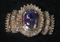 DIAMONDS & TANZANITE RING IN 14K GOLD & FREE SHIPPING!