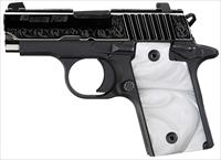 SIG P238 380ACP ENGRAVED WHITE PEARL GRIPS