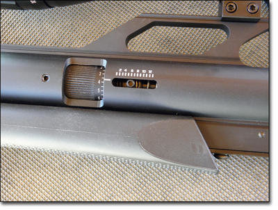 Graduated power adjustment is provided with the power wheel standard on all utility rifles