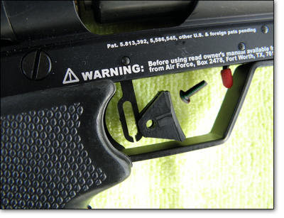 The trigger is adjustable via a long slot in the trigger and a movable trigger shoe