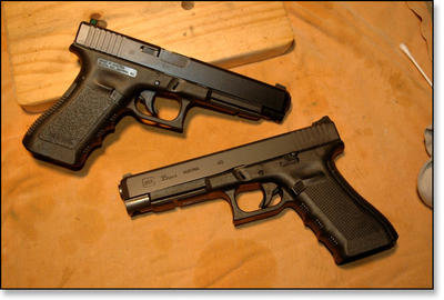 The Gen 4 (Glock 35 Gen 4 bottom, next to Gen 3 Glock 35, above) has added a new twist to the Glock pistol line. Notice the duller look of the newer finish for Glock pistols on the Gen 4 pistol.