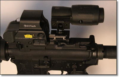 The 3x magnifier in the down and out of the way position. If you need a precise shot, just flip it up