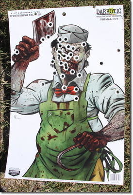 "This is an 18"" x 12"" target and I was easily able to keep the whole mag on target with rapid fire. Nobody will be safe when the zombies come, but at least I'll have a KRISS."