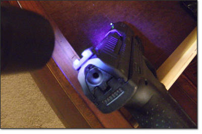 The Nitesiters UV flashlight charges your sights in seconds