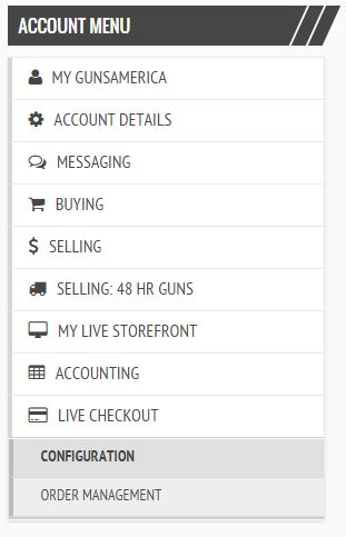 GunsAmerica Account Menu