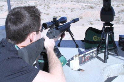 Ben Becker, our resident US Army Sniper, was able to test the .308 Winchester ammo at Media Day at the Range, SHOT Show 2012. It worked great in this suppressed rifle.