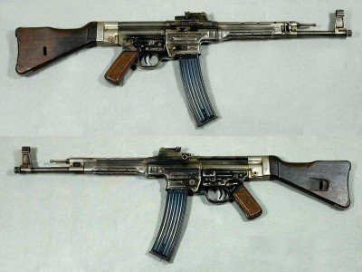 This is the original MP44/StG44 from WWII. It fired a 7.92x39mm., or 8x33 Kurz, round that was a smaller version of the German 8x57, or 8mm Mauser. The Kalashnikov, or AK-47, fires a 7.62x39 cartridge, which is a smaller version of the 7.62x54 Russian. Most people consider the StG44 the original assault rifle from which all others were fashioned, but it arrived too late in WWII to make a difference in the failed Nazi war machine.
